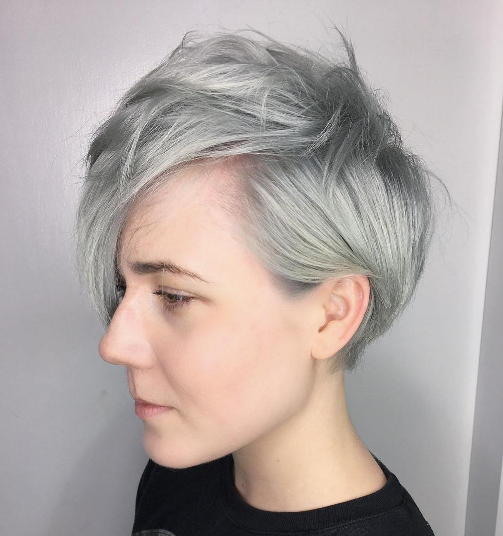 Gray Choppy Pixie for Fine Hair