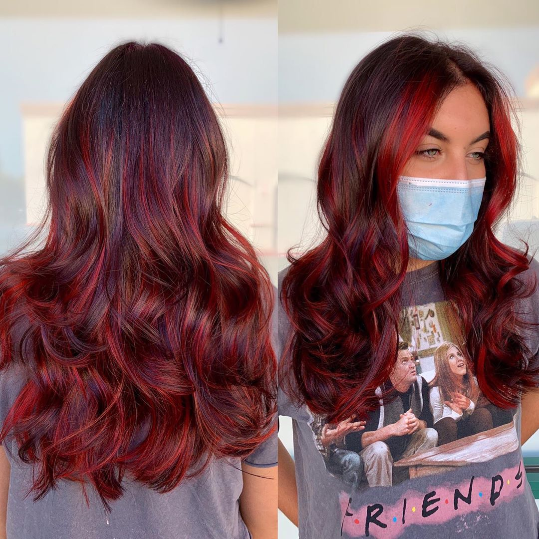 Bright Burgundy Red Highlights and Money Pieces