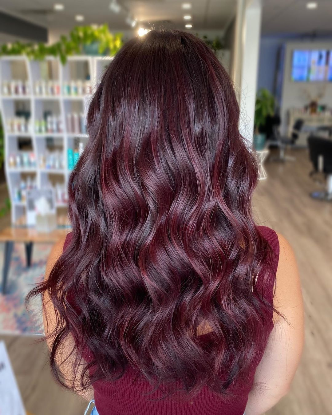 Long Red Wine Hair for Fall