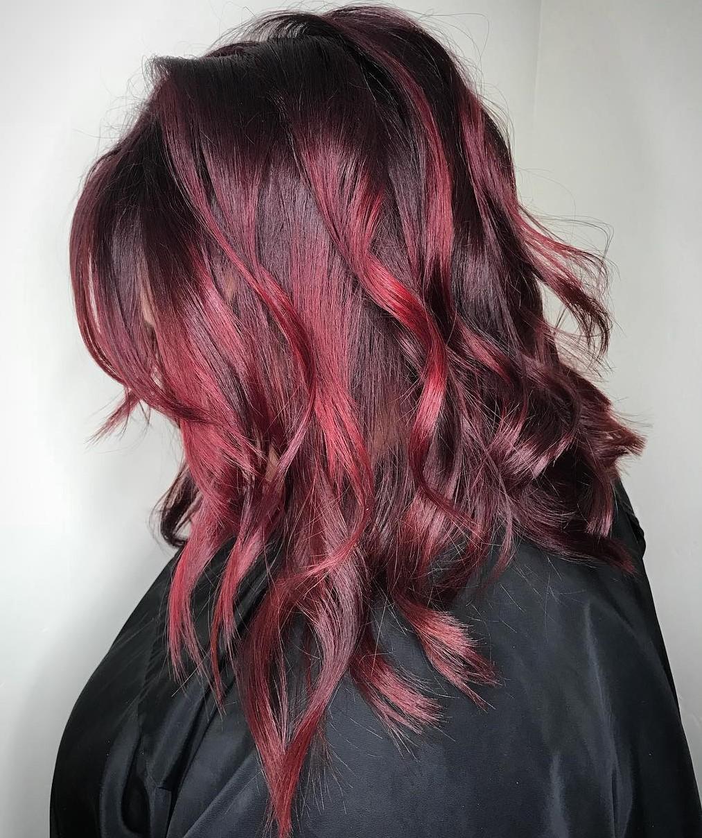 Dark Hair with Bright Burgundy Highlights