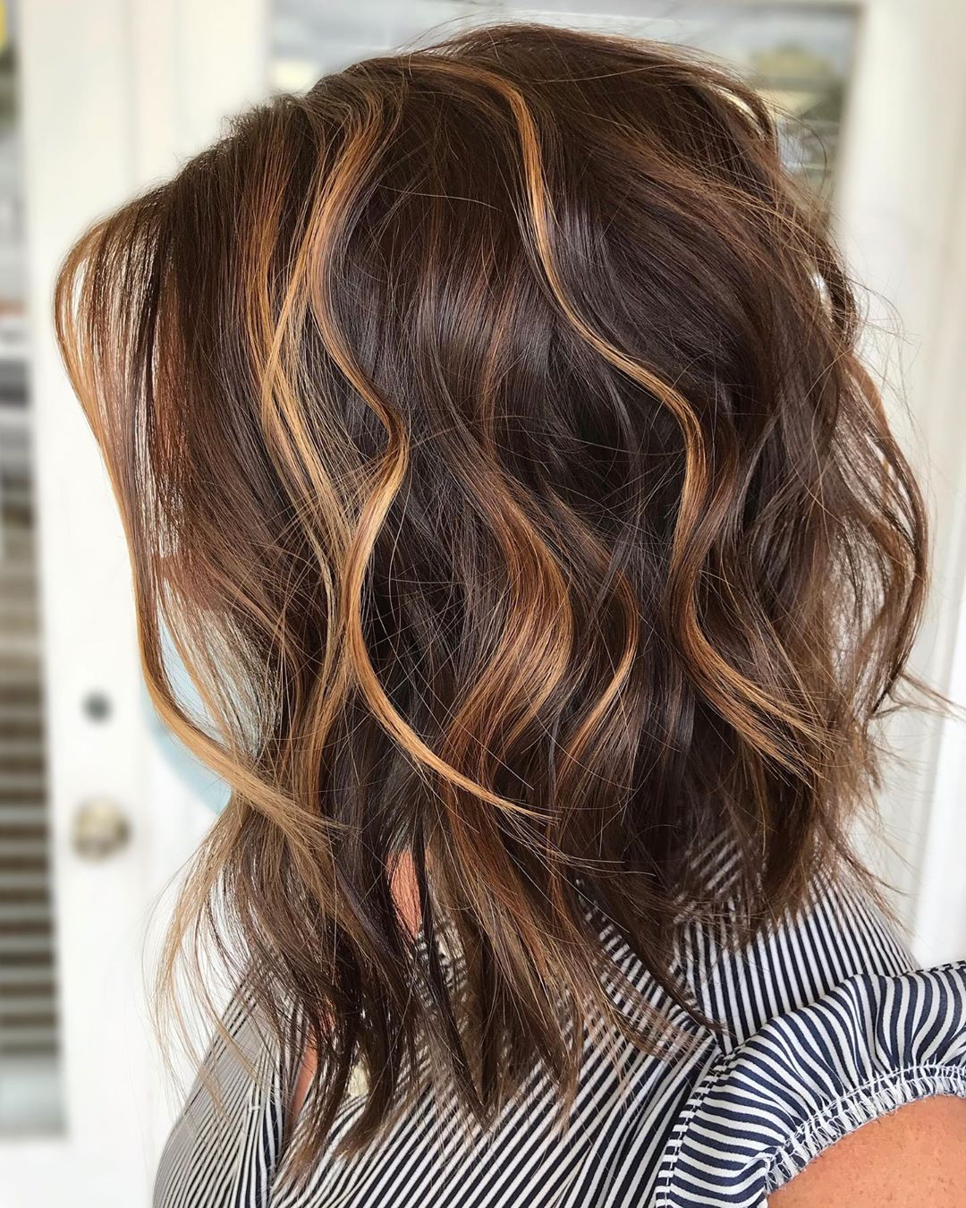Brown Bob with Thin Caramel Highlights