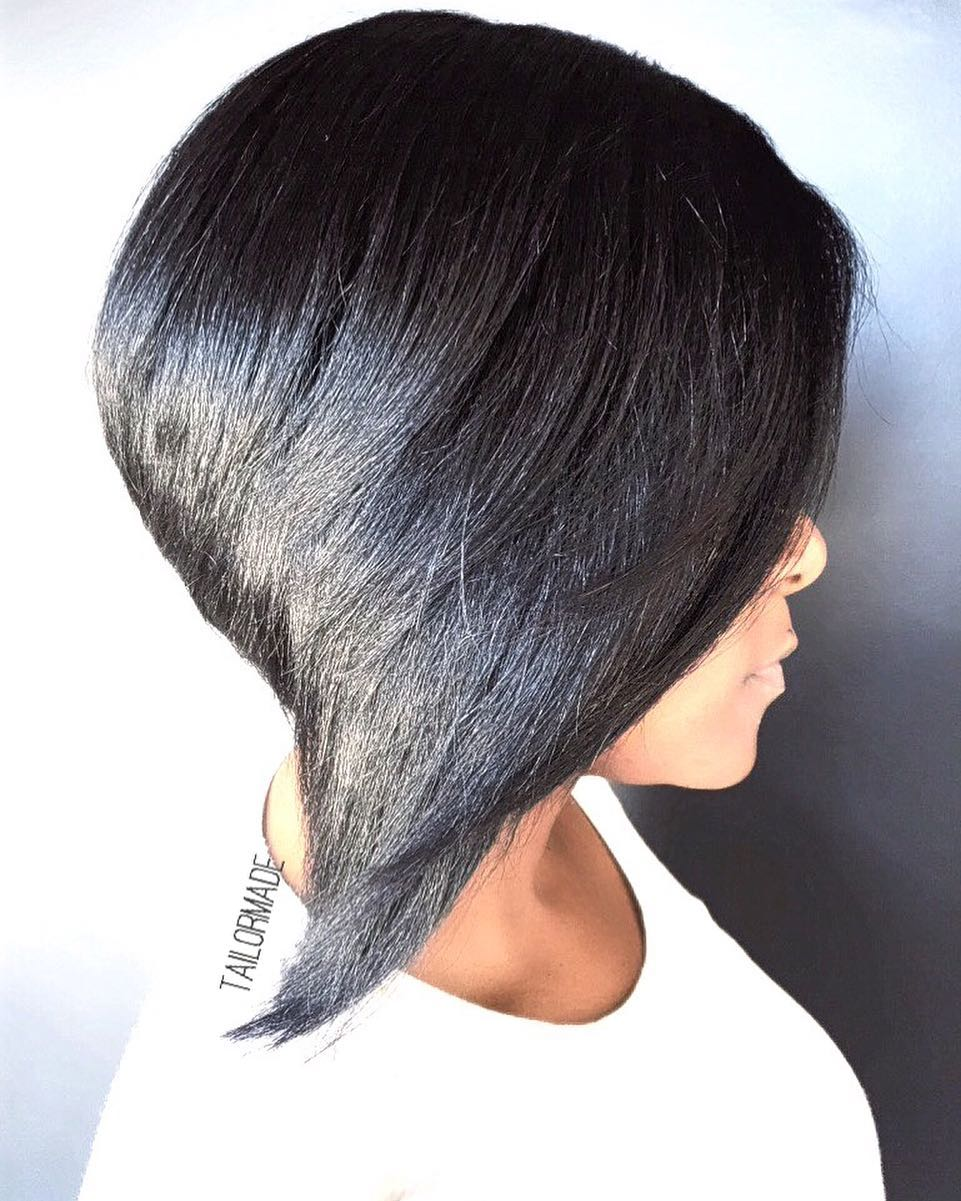 Black Angled Bob with Shine and Volume