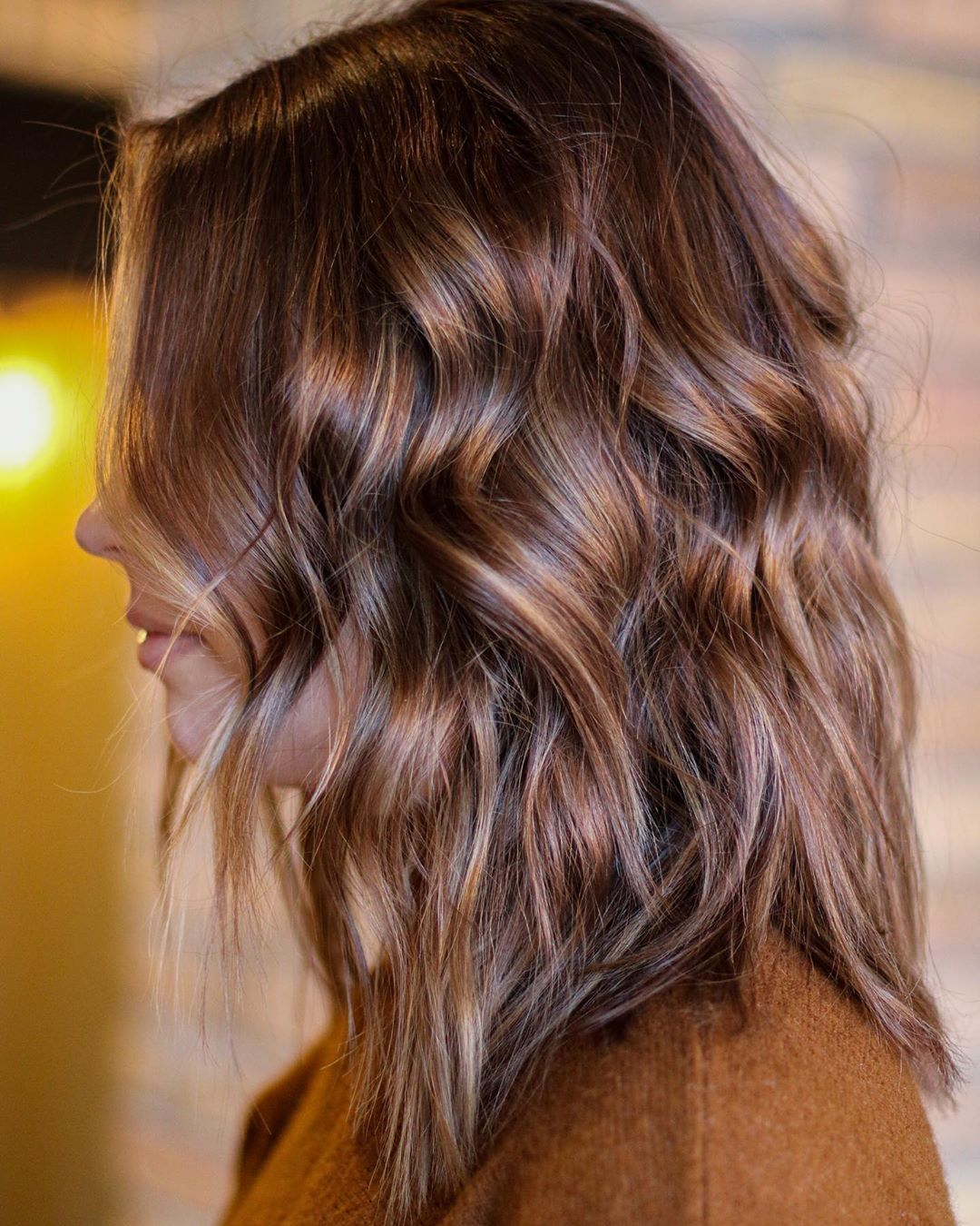 Glossy Caramel Highlights for Dark Hair