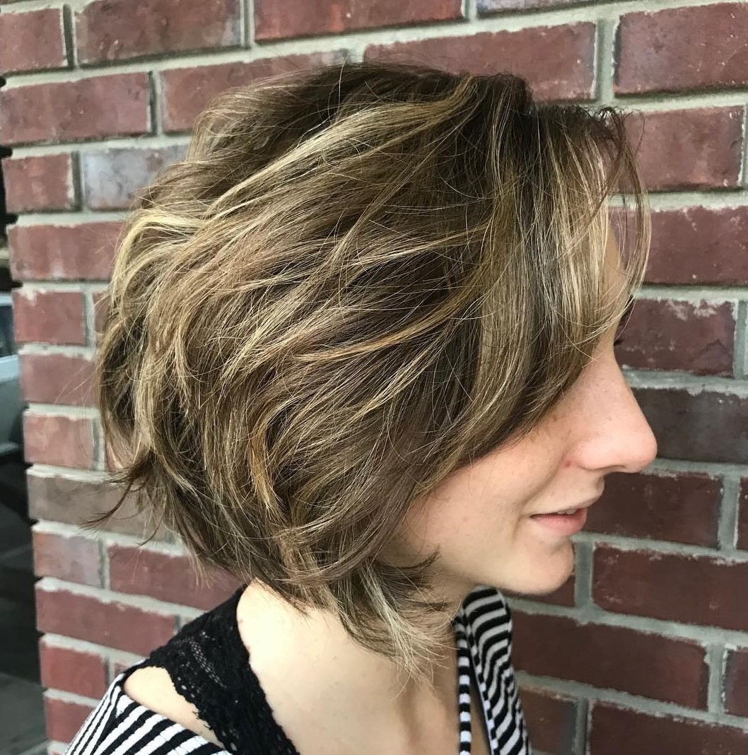 Sun-Kissed Layered Bob for Thick Hair