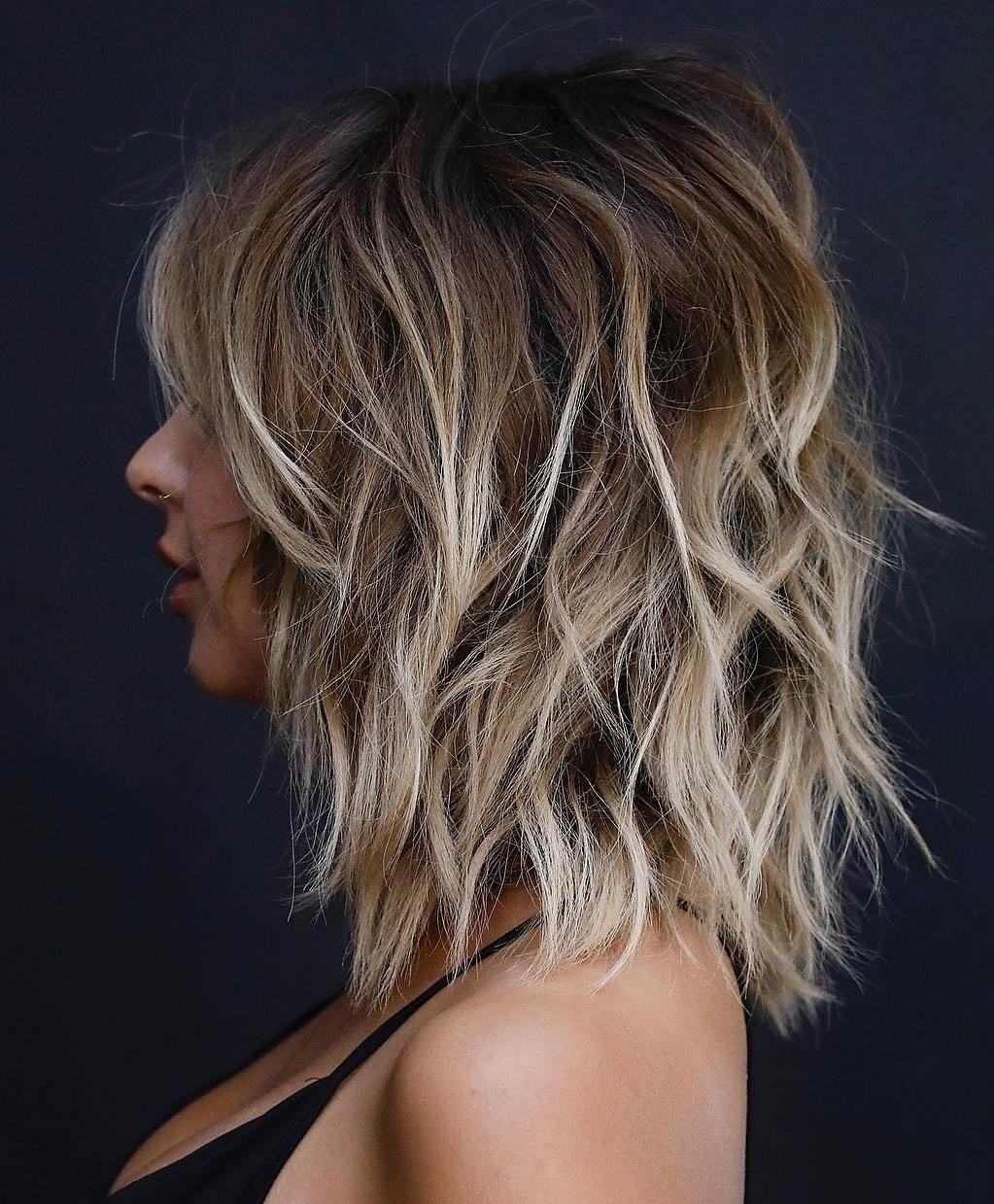 Medium Shag with Cool Blonde Highlights