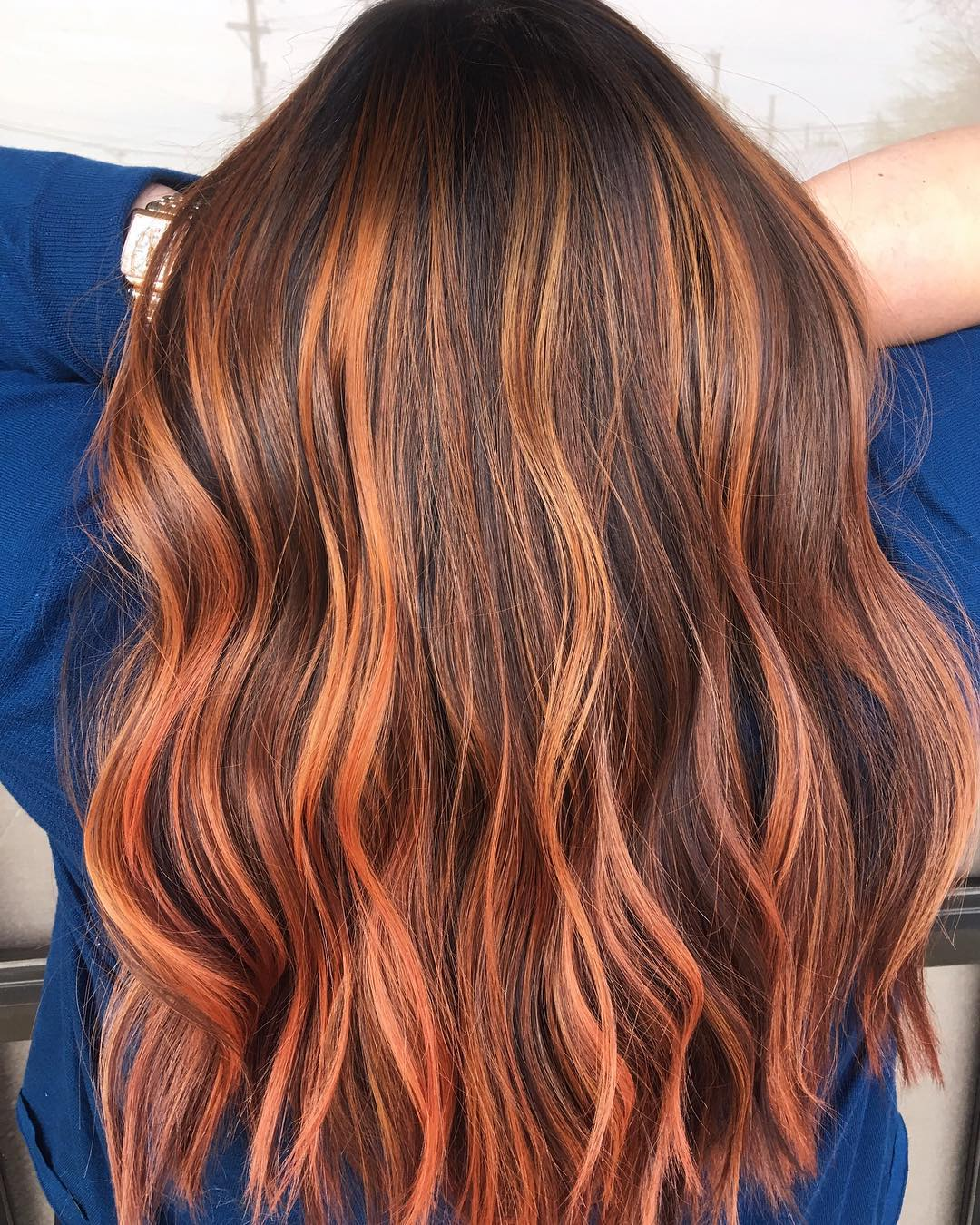 Brown Hair with Tangerine Highlights