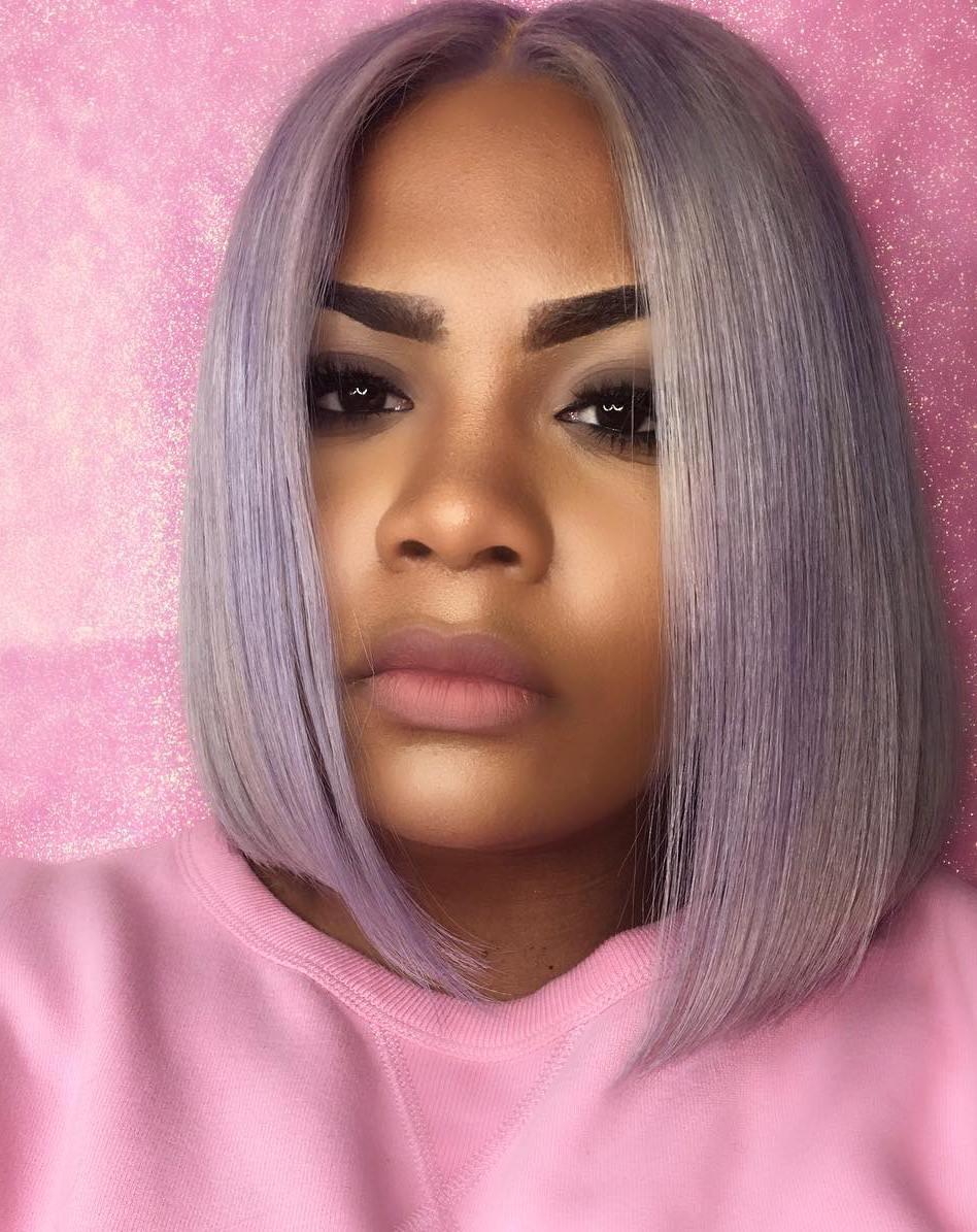 African American Blunt Lavender Bob