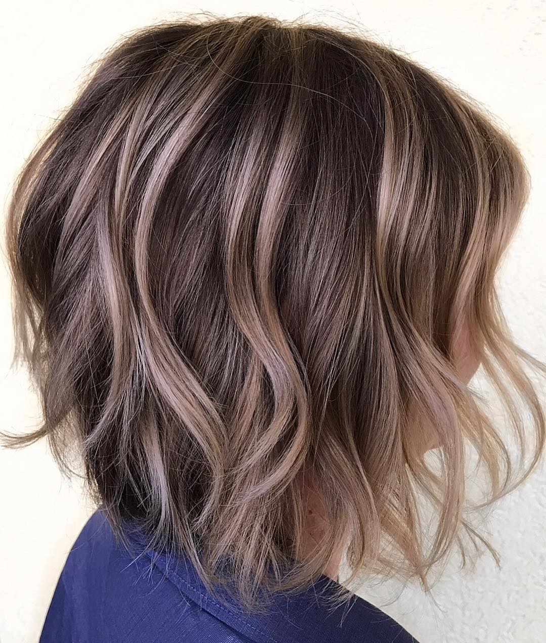 Wavy Layered Brunette Bob with Beige Highlights