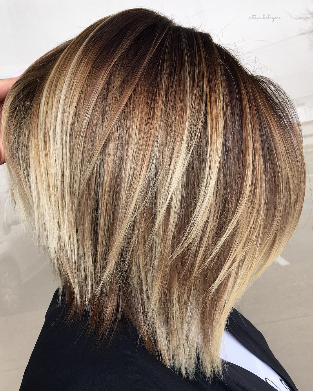 Straight Bronde A-Line Bob Cut with Layers