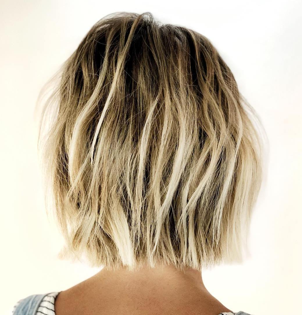 Brown Blonde Bob with Loose Waves