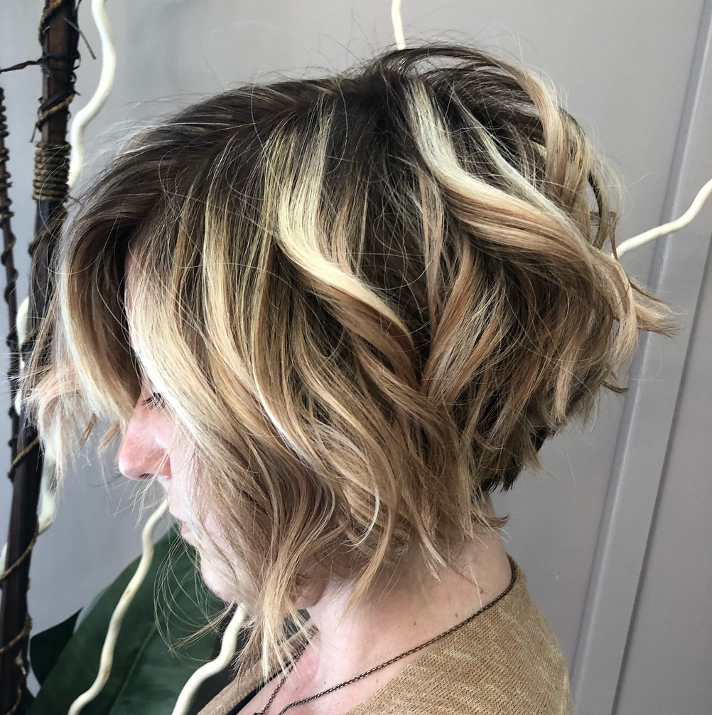 Edgy Wavy Bob for Thick Hair