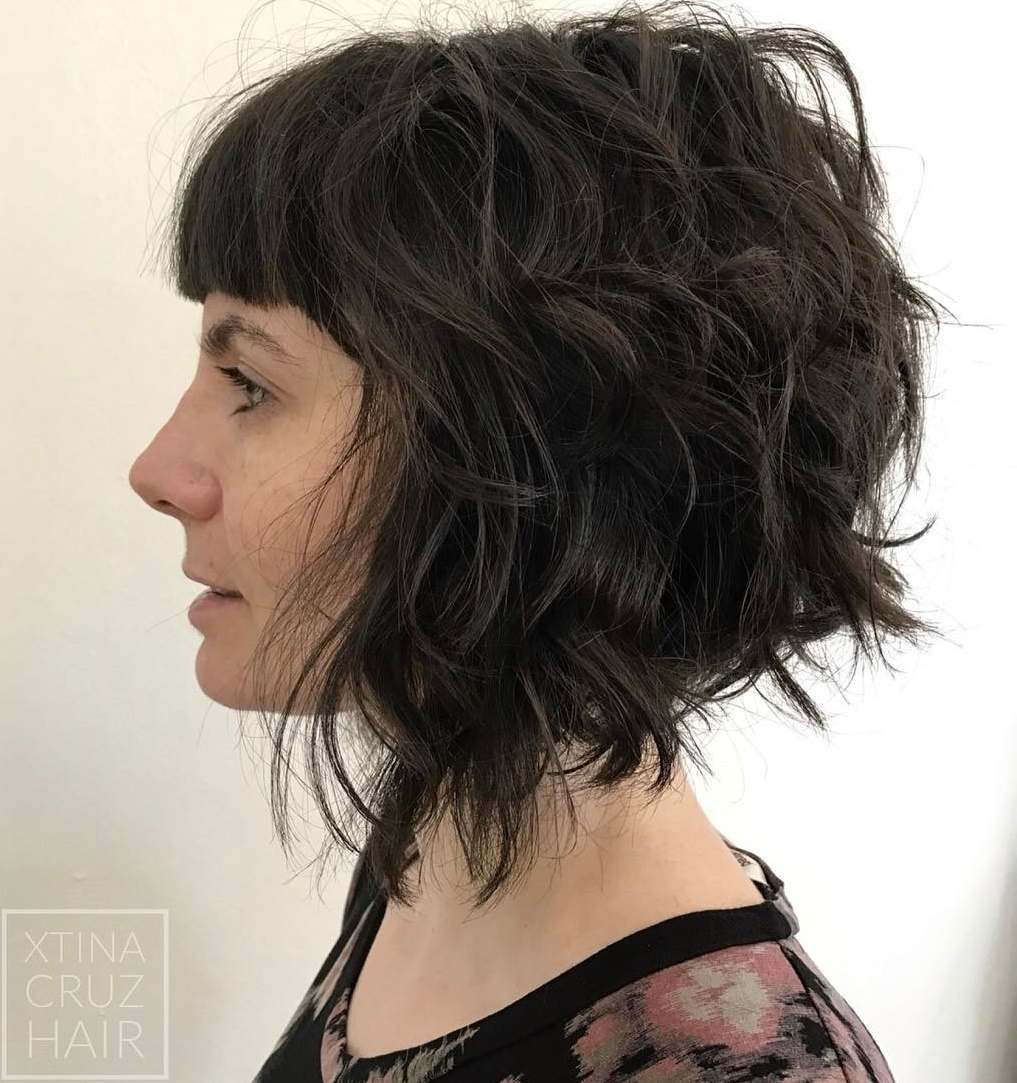 Curly Bob with Short Straight Bangs