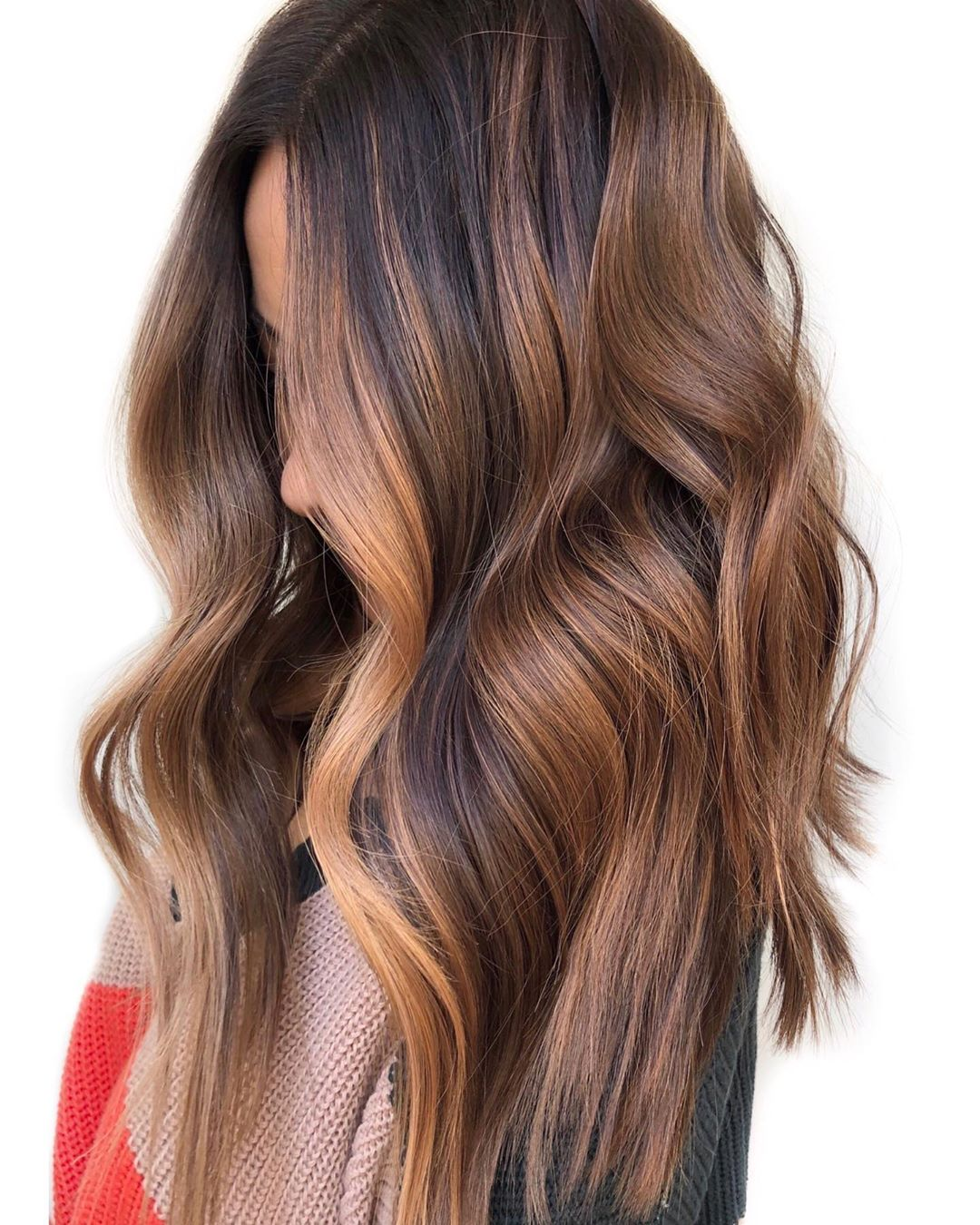 Brown Balayage with Caramel Money Pieces