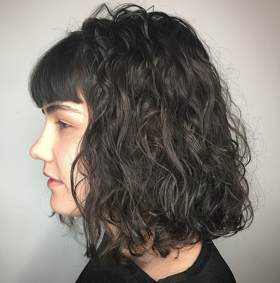 Wavy Perm Bob with Straight Bangs