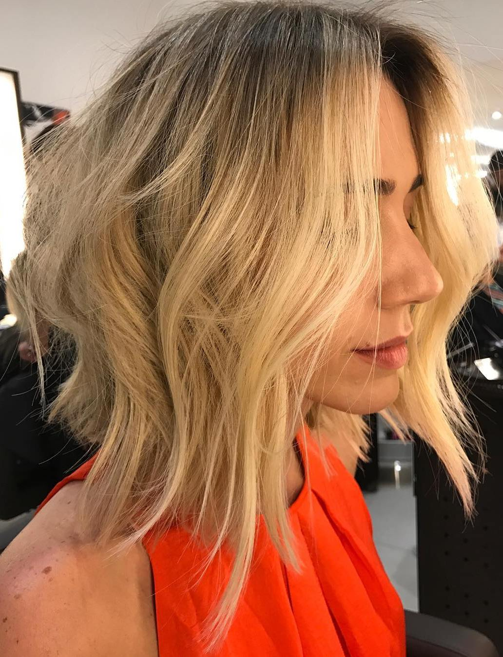 Summery Blonde Wavy Lob