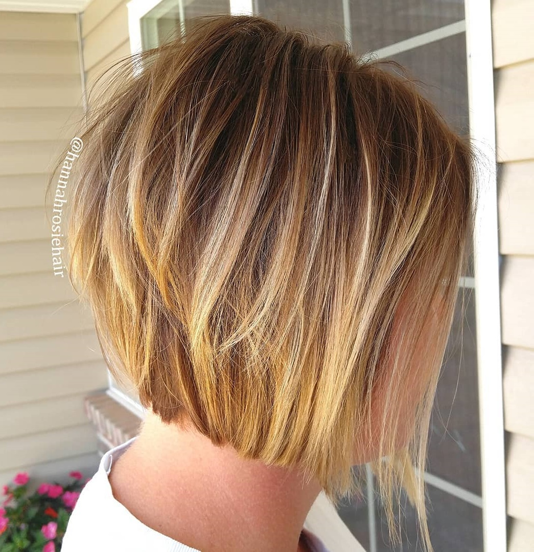Honey Blonde Stacked Bob