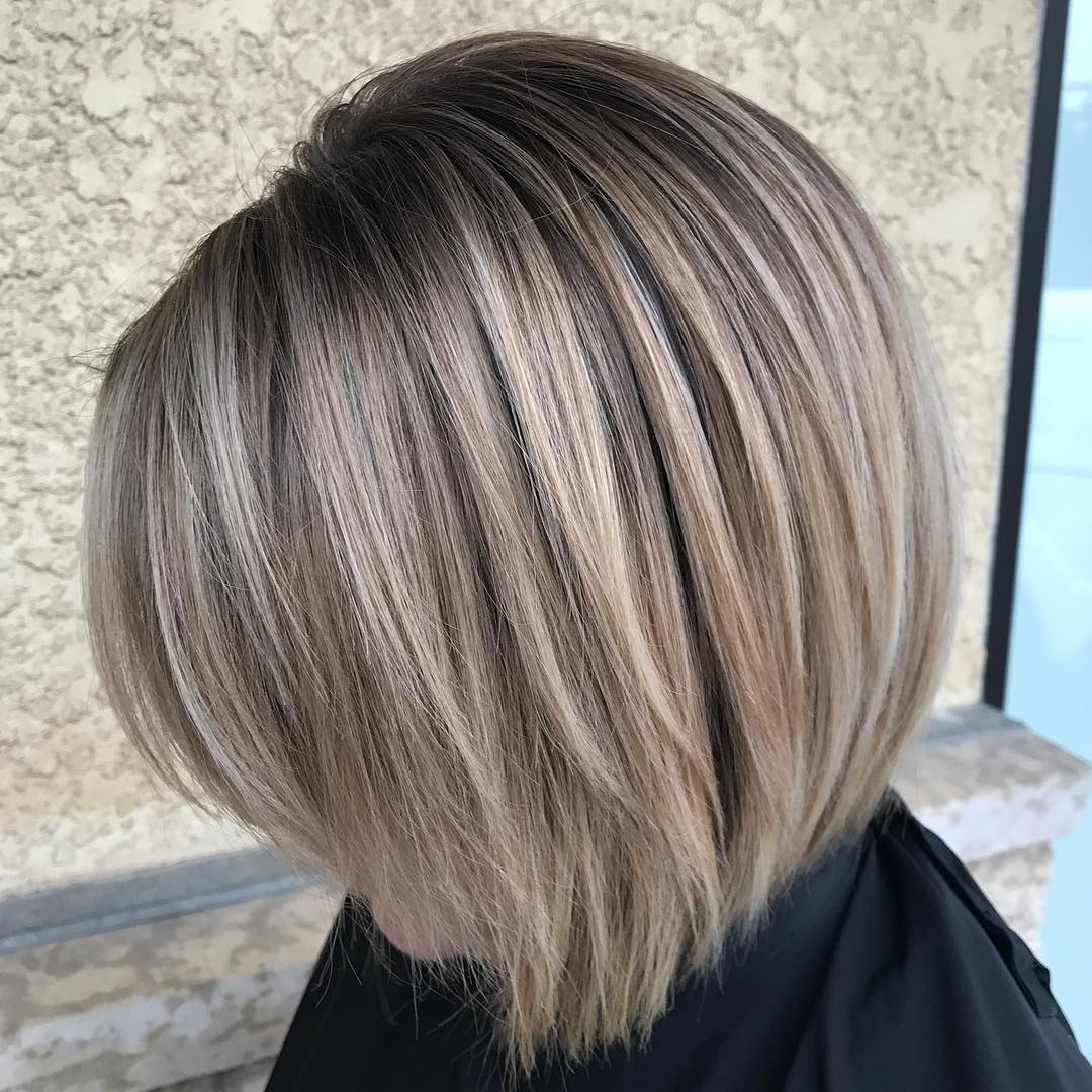 Ash Blonde Long Layered Bob