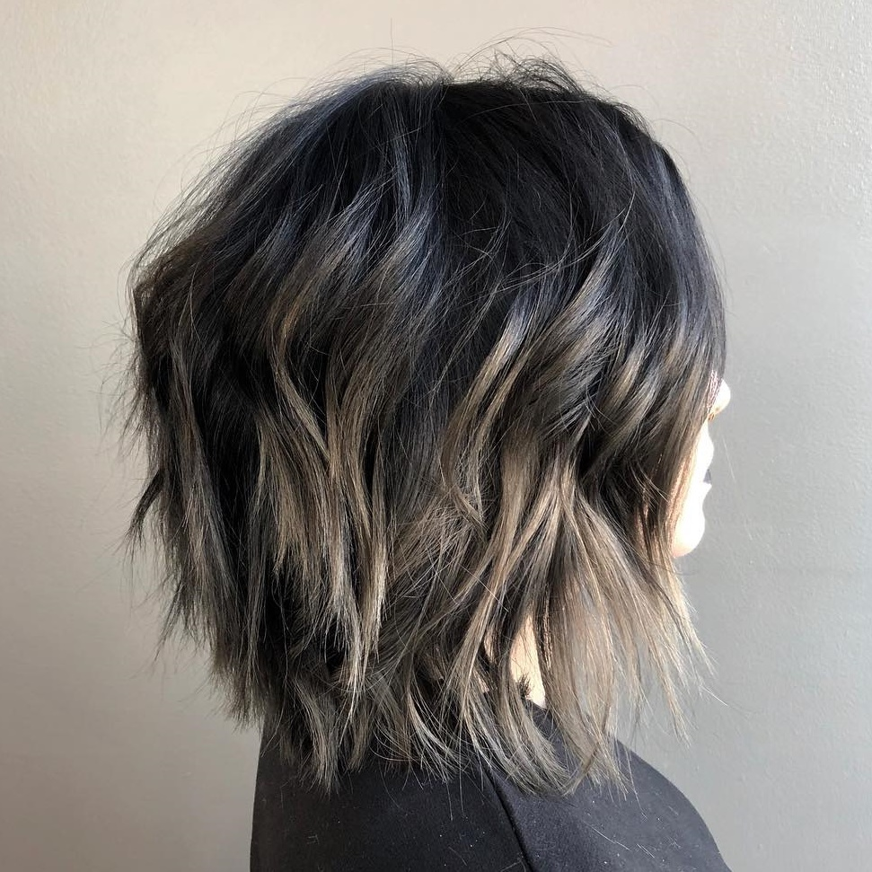 Black and Brown Lob with Razored Ends
