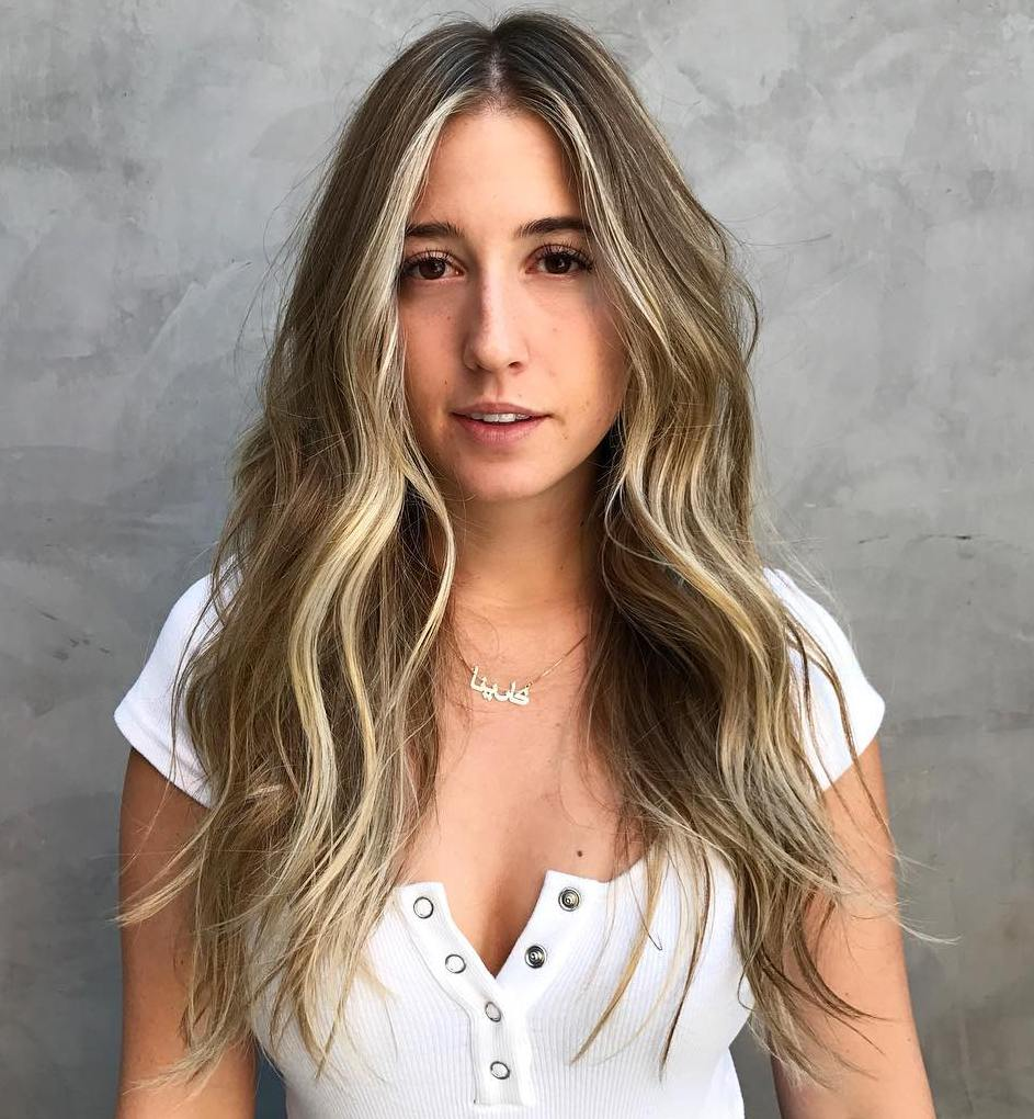 Waist-Length Blonde Balayage Hairstyle