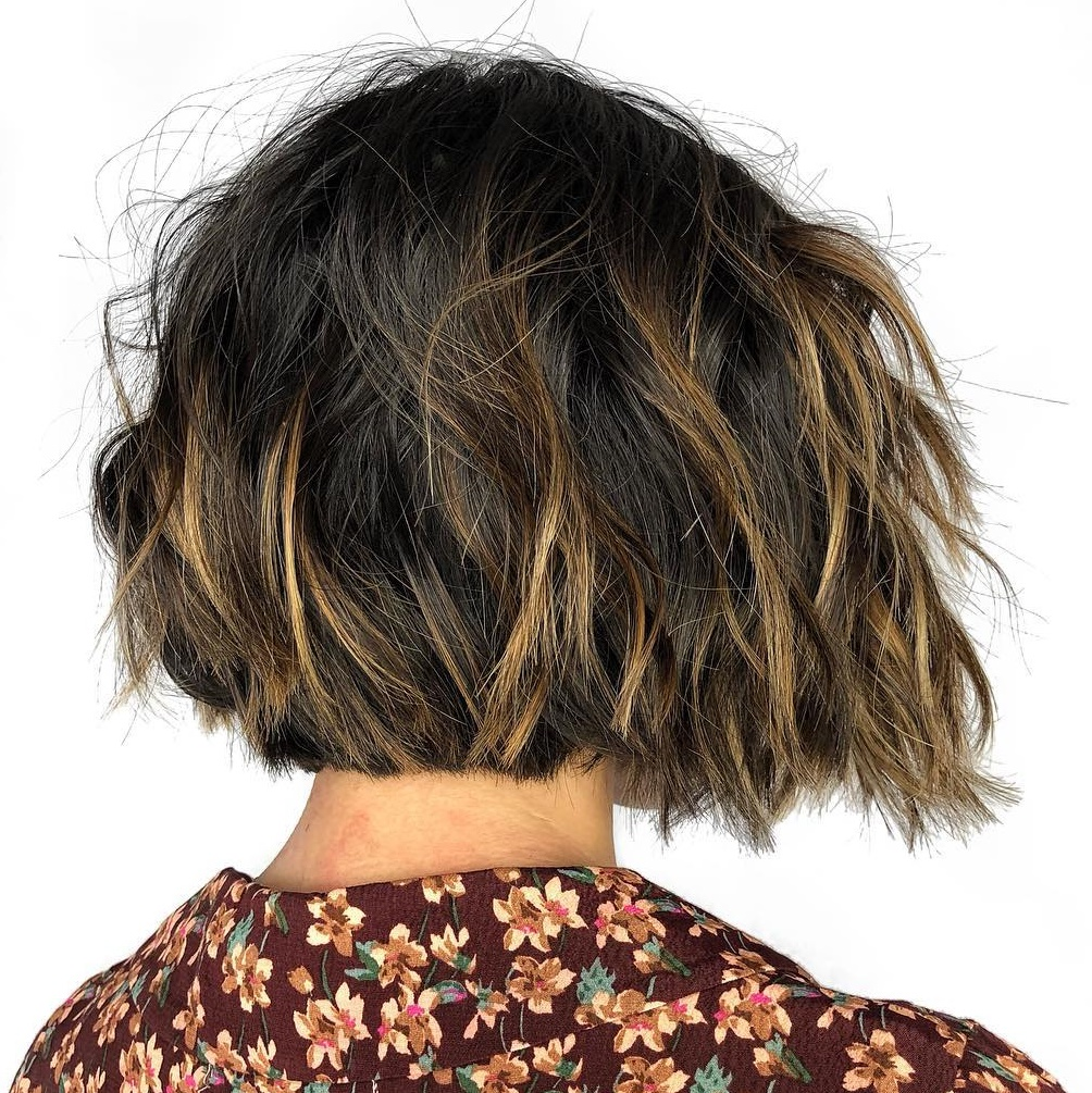 Choppy Thick Bob with Highlights