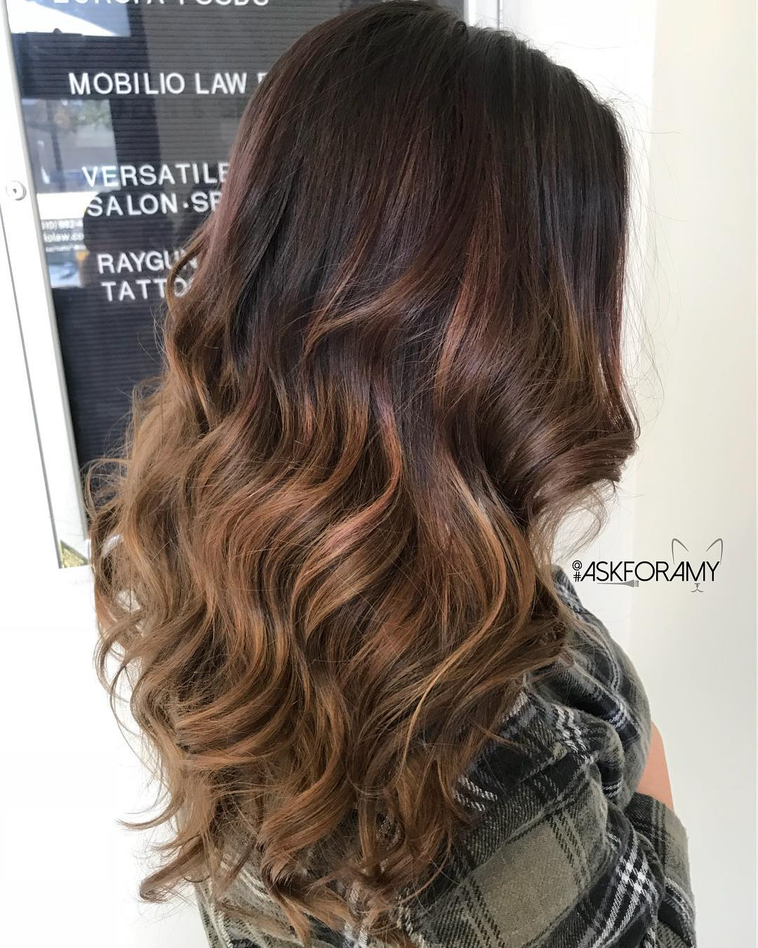 Burgundy to Caramel Ombre Curls