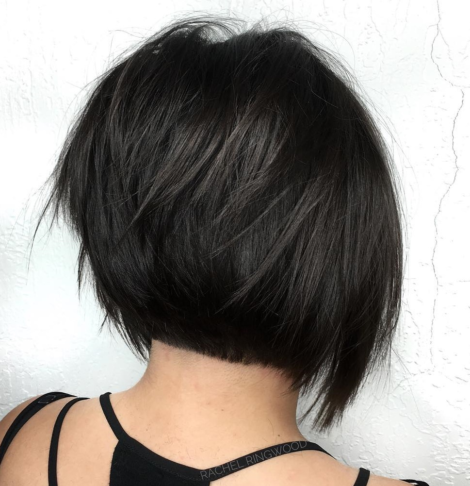 Short Black Bob with Razored Layers