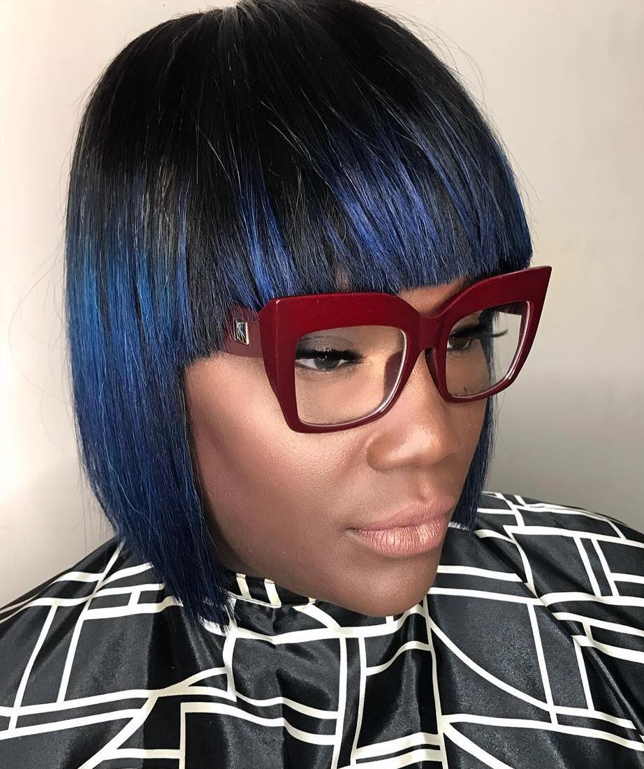 Accurate Black Bob with Blue Highlights