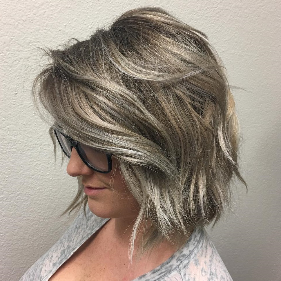 Gray Blonde Bob with Layers and Waves