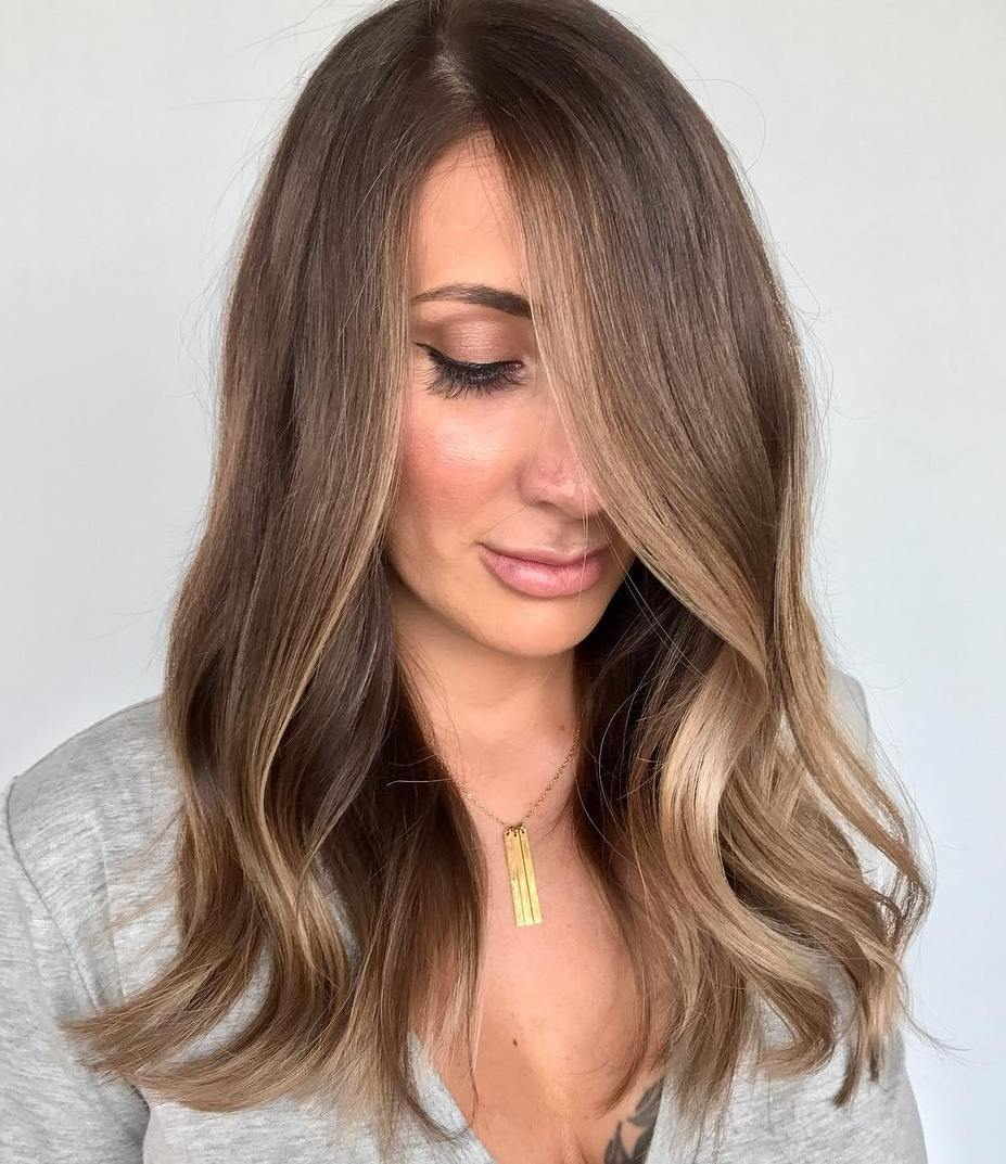 Long Brown Hair with Face-Framing Highlights