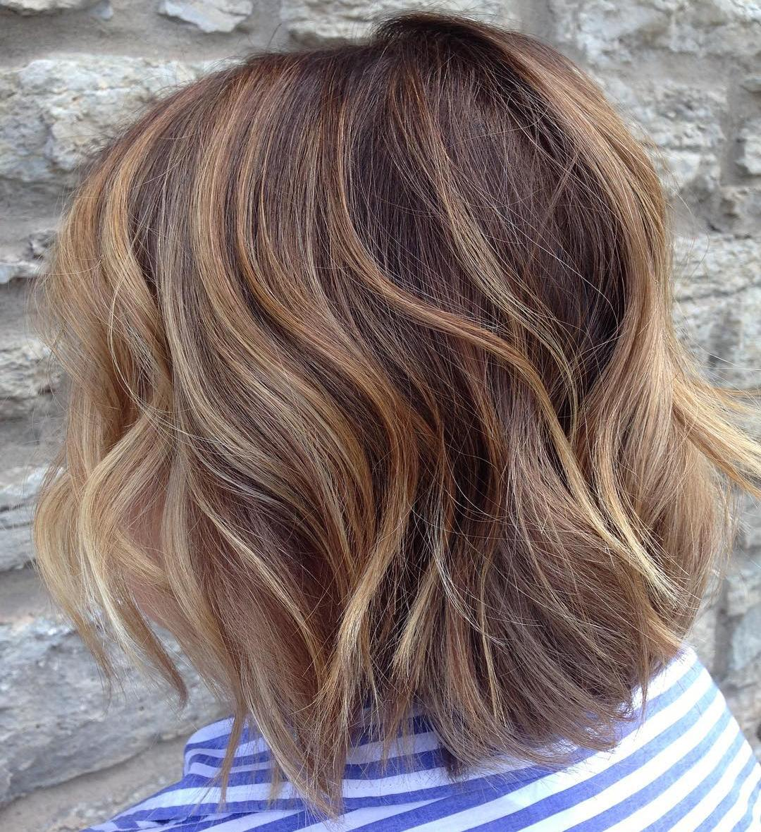 Warm Toned Long Shaggy Bob