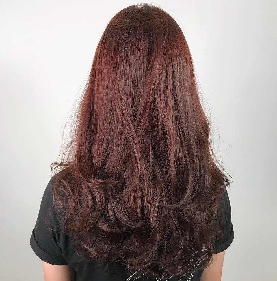 Burgundy Red Ombre with Digital Perm Curls