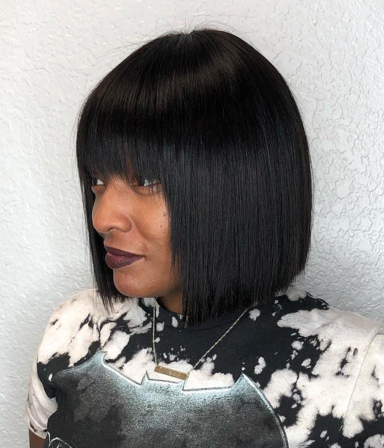 Sleek Black Hair Bob with Bangs
