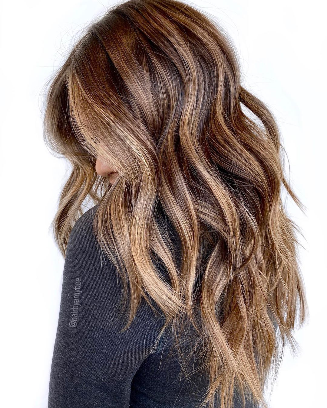 Brown Hair with 3D Caramel Highlights