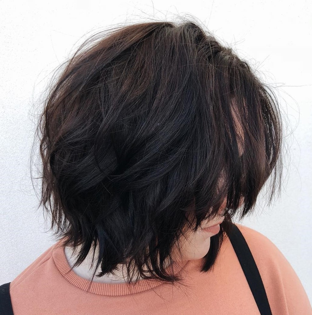Shaggy Layered Brunette Bob