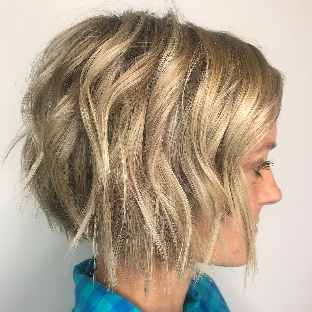 Uneven Layered Blonde Bob for Thin Hair