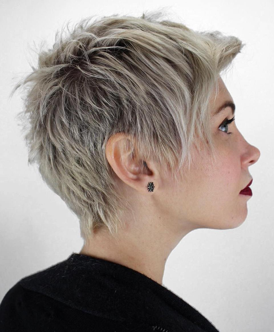 Platinum Choppy Pixie with Dark Roots