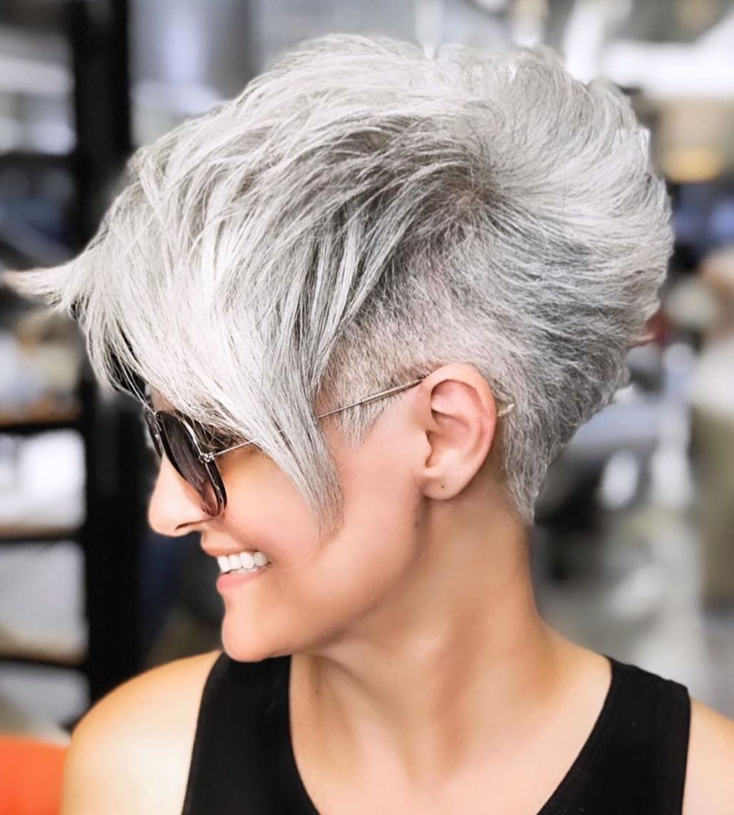 Gray Undercut Pixie Cut with Bangs