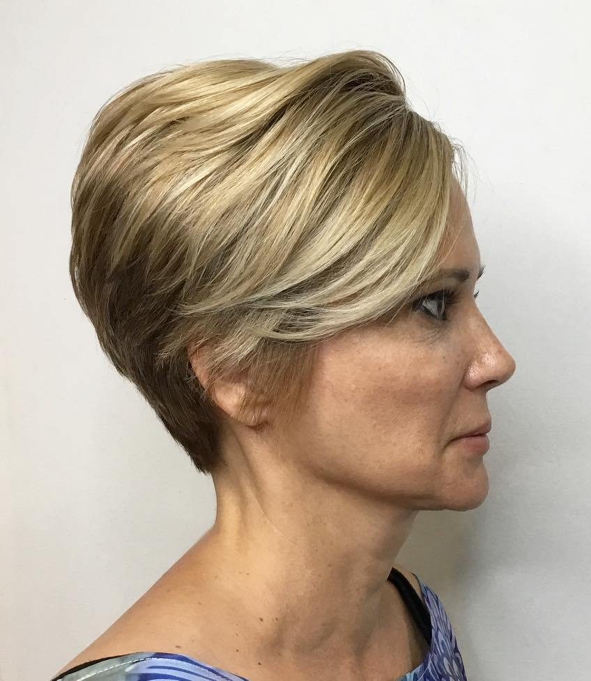 Tapered Blonde Pixie with side Bangs