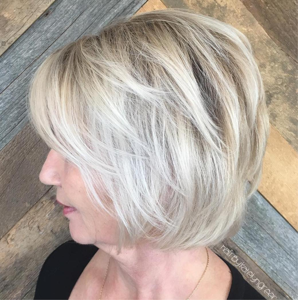 Short Layered Icy Blonde Bob