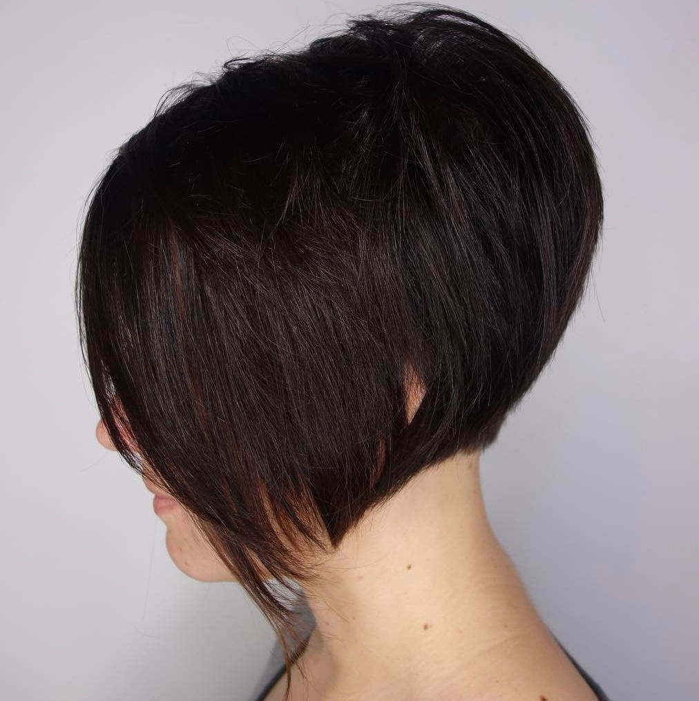 Short Stacked Bob with Choppy Bangs