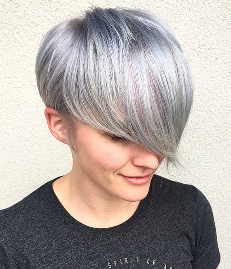 Sleek Gray Pixie with Long Bangs