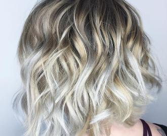 Golden Blonde Bob with Silver Highlights