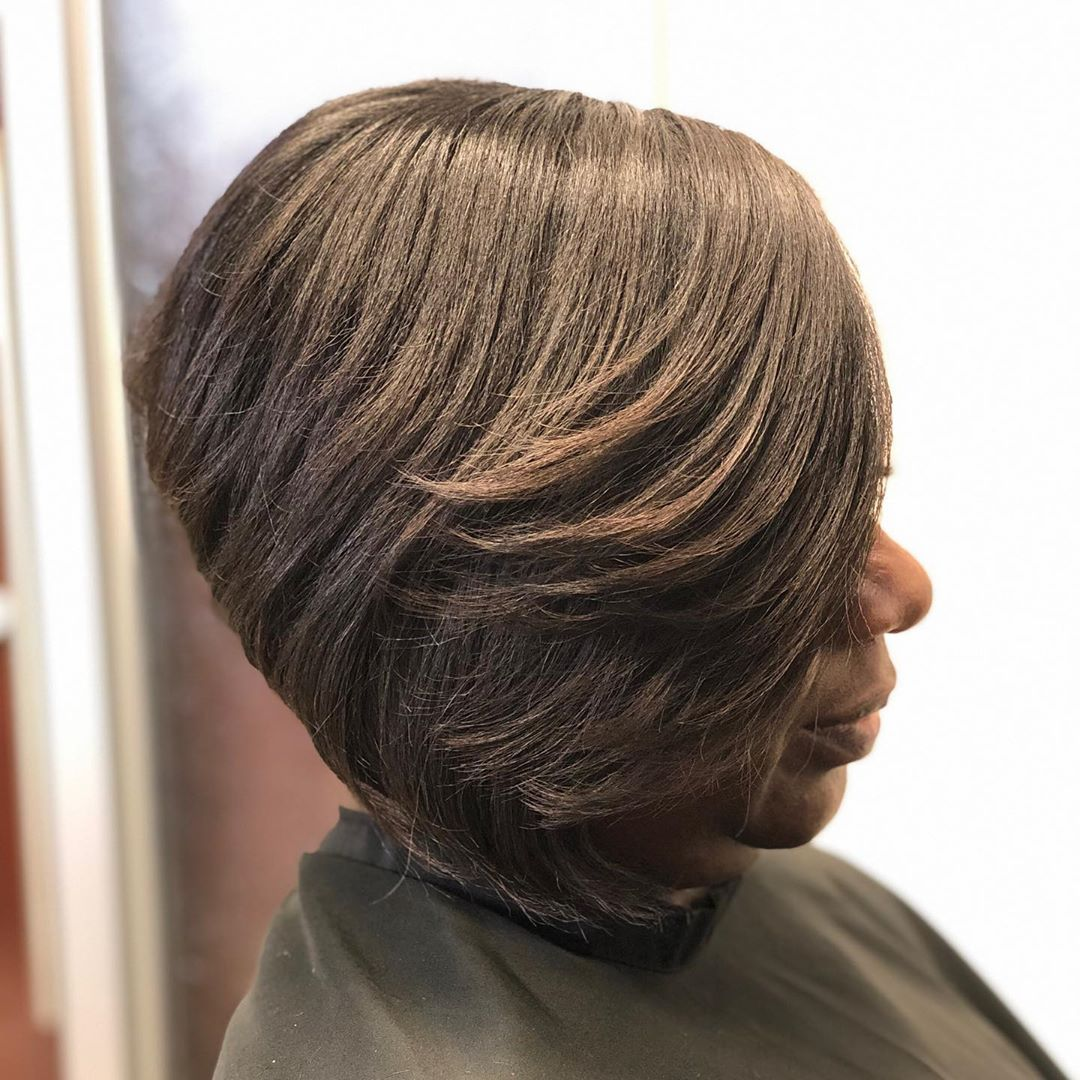 Stacked Bob with Bangs for Thick Hair