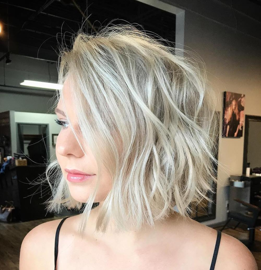 Blonde Messy Bob with Light Waves