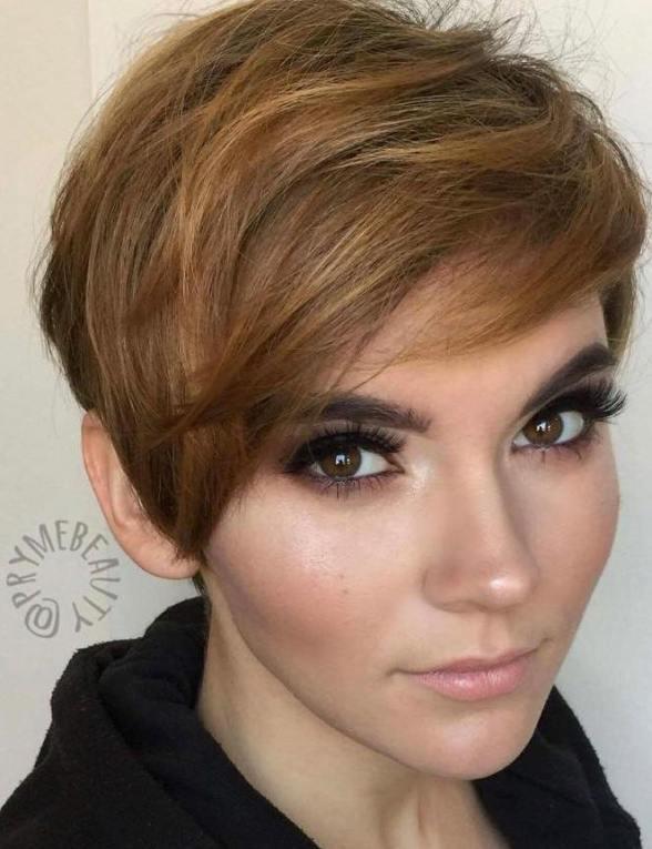 Warm Dark Blonde Pixie Cut