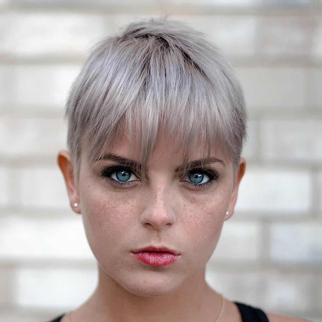 Straight Sliced Gray Pixie with Bangs