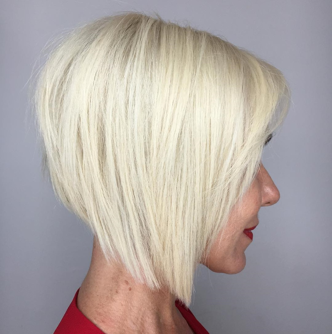 Geometric Inverted Blonde Bob with Bangs