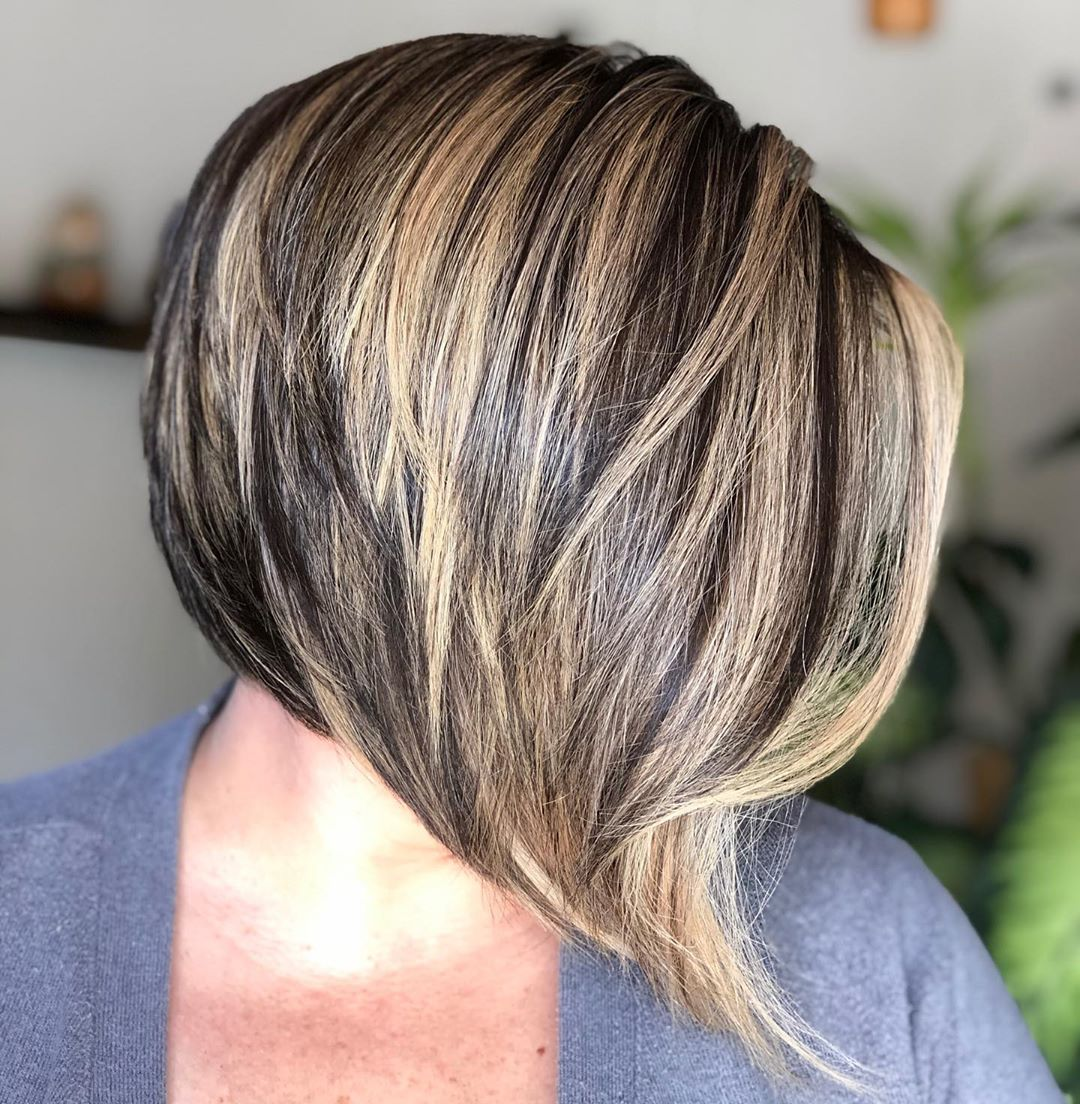 Wispy Inverted Bob with a Long Fringe