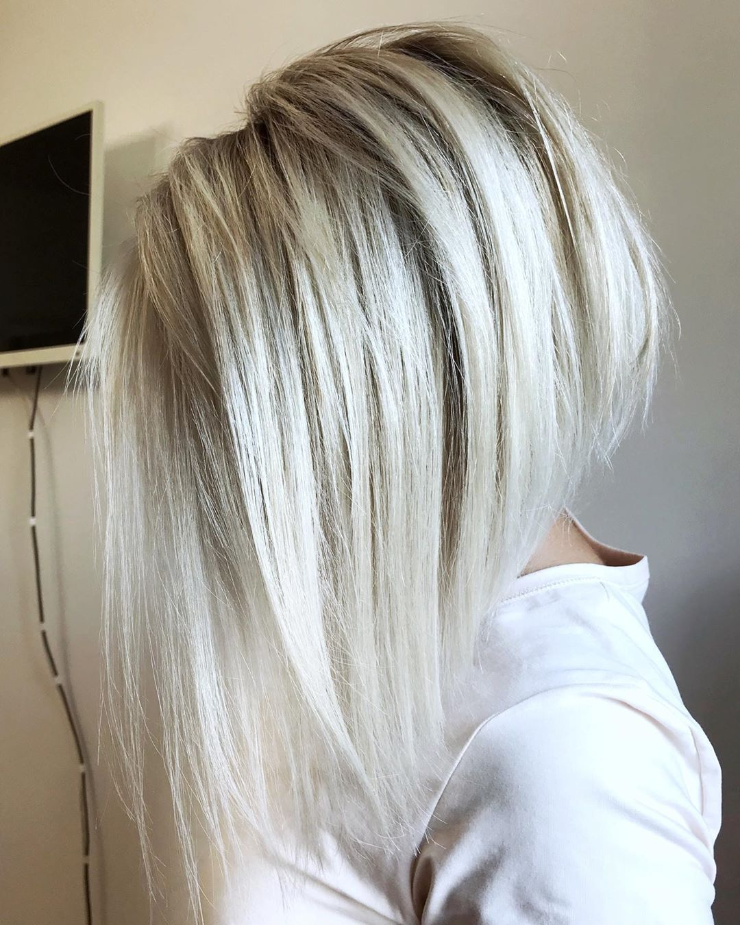 White Blonde Long Inverted Bob