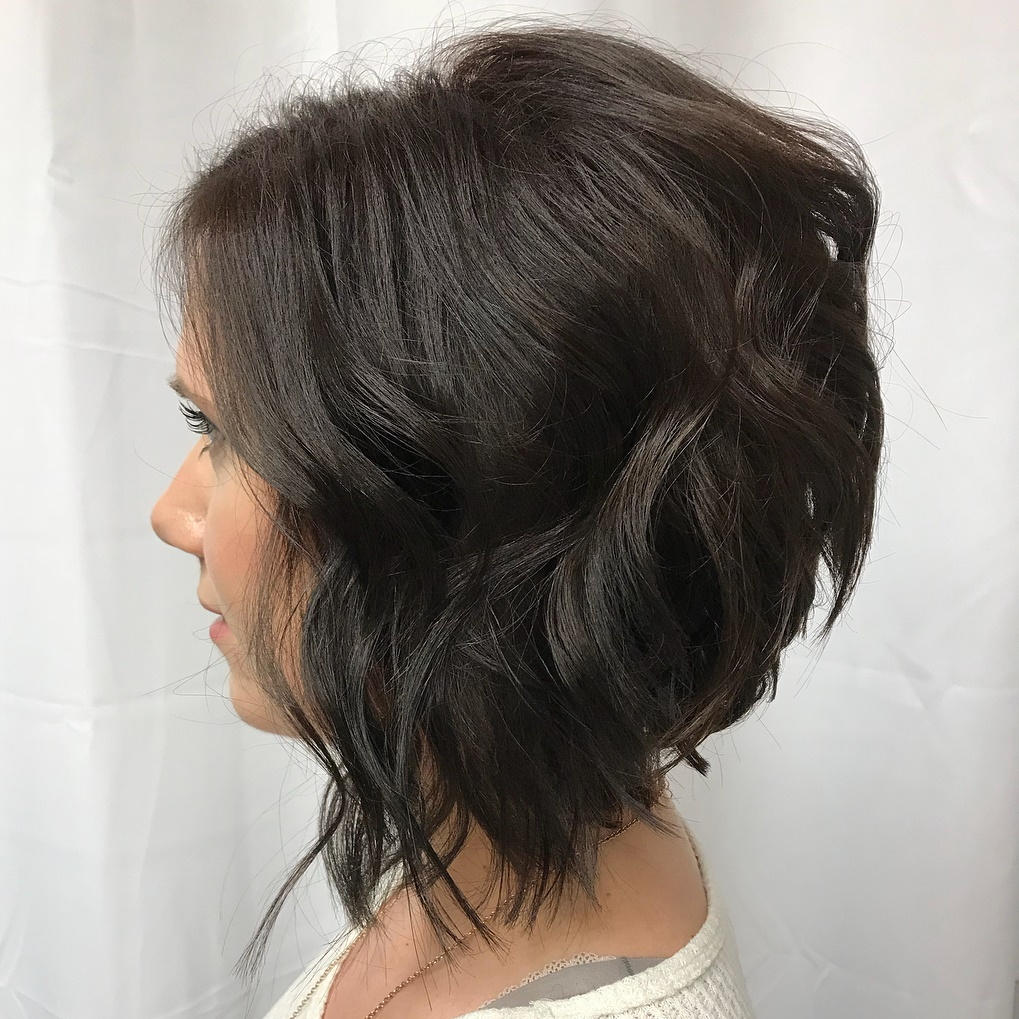 Tousled Inverted Bob with Waves